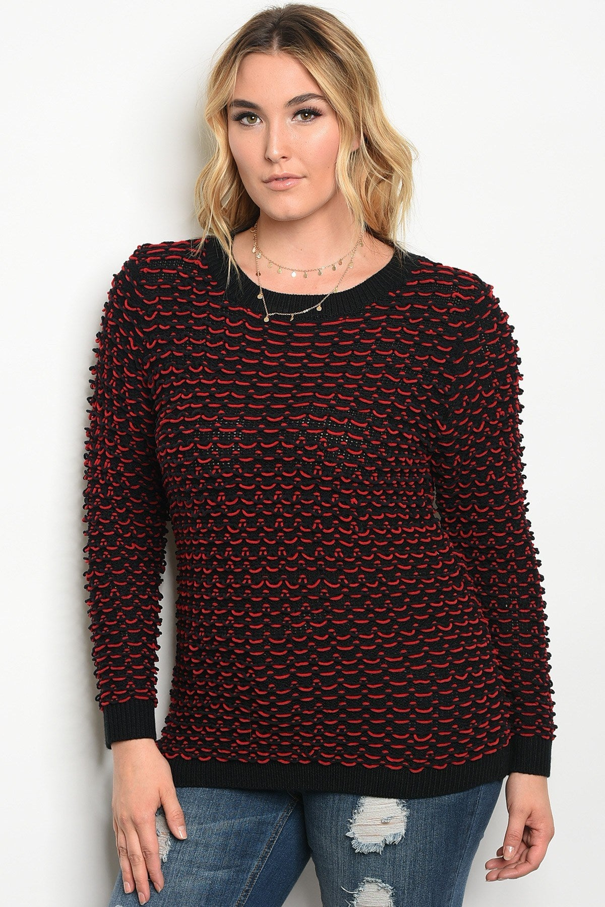 Plus size knit sweater top with a crew neckline.-1XL-MY UPSCALE STORE