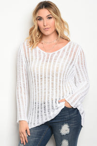 Plus size light weight knit sweater top with a scoop neckline.-1XL-MY UPSCALE STORE
