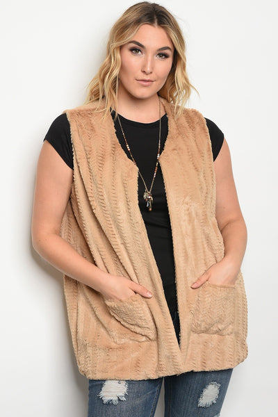 plus size sleeveless faux fur vest with pocket details.-1XL-MY UPSCALE STORE