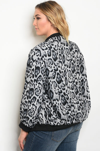 Plus size light wight animal print bomber jacket with a zipper closure.-1XL-MY UPSCALE STORE