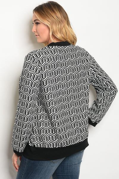 Plus size long sleeve printed sweater top with a crew neckline.-1XL-MY UPSCALE STORE