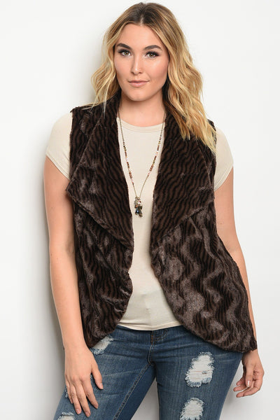 Plus size faux fur vest.-1XL-MY UPSCALE STORE