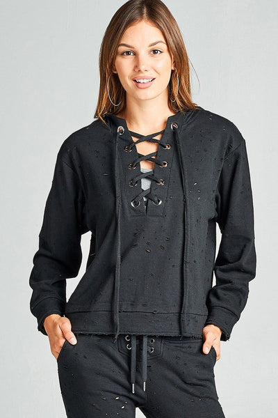 Ladies fashion dropped long sleeve grommet distressed cotton polyester slub french terry hoodie top-S-MY UPSCALE STORE