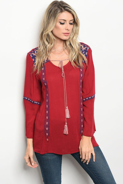 Ladies fashion long sleeve relaxed fit top with a rounded neckline with a tassel tie and lace details-S-MY UPSCALE STORE