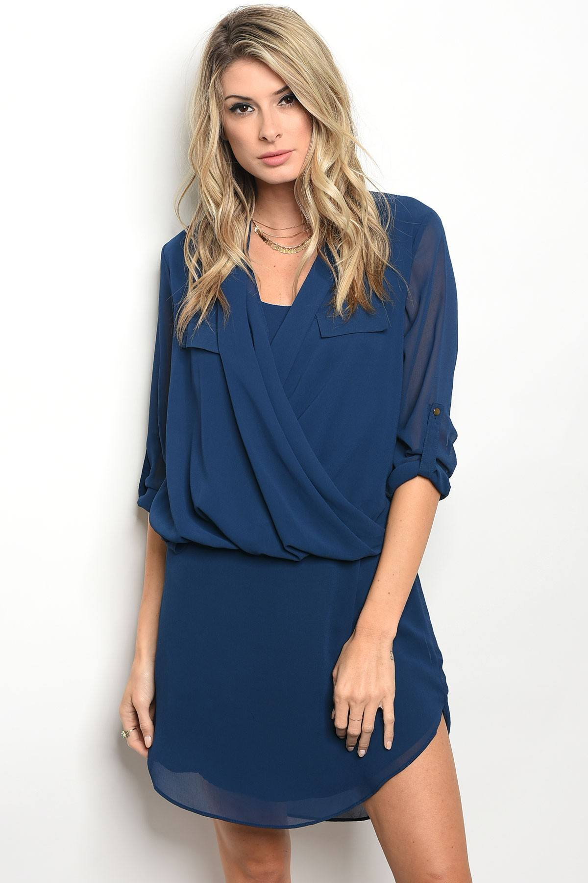 Ladies fashion 3/4 sleeve acrylic blend shift dress with a draped detailed top and a v neckline-S-MY UPSCALE STORE