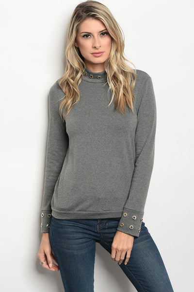 Ladies fashion long sleeve sweater top with a mock neckline and grommet details along the cuffs-S-MY UPSCALE STORE