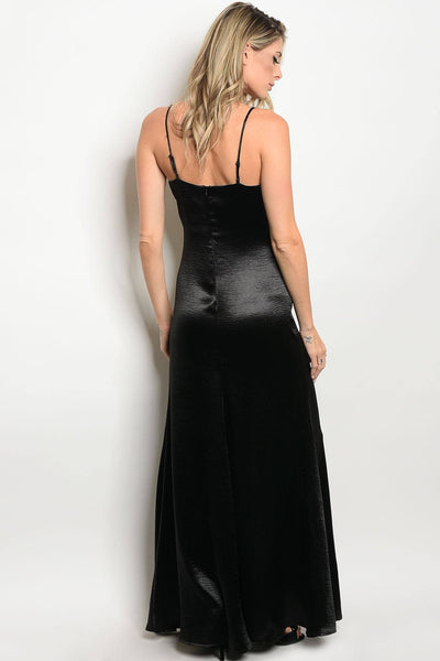 Ladies fashion sleeveless satin floor length maxi dress with a v neckline-S-MY UPSCALE STORE