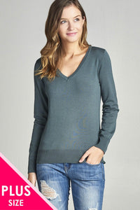 Plus size long sleeve v-neck classic sweater-1XL-MY UPSCALE STORE