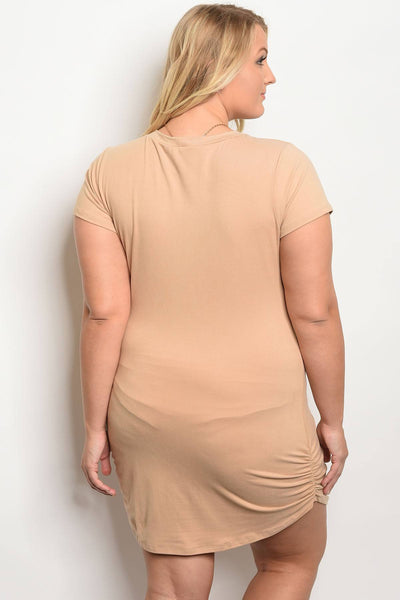 Plus size tan dress with chain-1XL-MY UPSCALE STORE