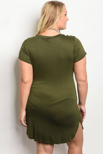 Plus size print dress-Olive-1XL-MY UPSCALE STORE