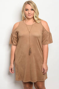 Plus size open shoulder dess with chain-1XL-MY UPSCALE STORE