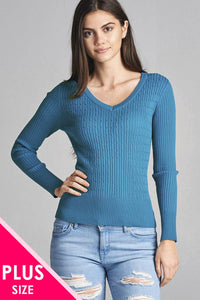 Plus size long sleeve v-neck cable knit classic sweater-1XL-MY UPSCALE STORE