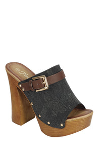 Ladies fashion denim upper slip on with buckle detail, and wooden covered heel-5-MY UPSCALE STORE