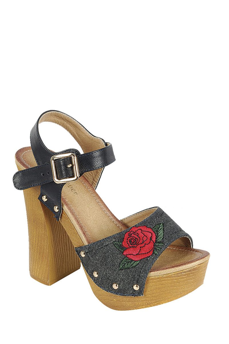 Ladies fashion leather upper slingback strap with buckle, with wooden stacked block heel-6-MY UPSCALE STORE