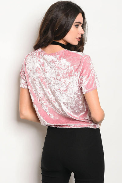 Ladies fashion short sleeve crushed velvet graphic top with a crew neckline-S-MY UPSCALE STORE