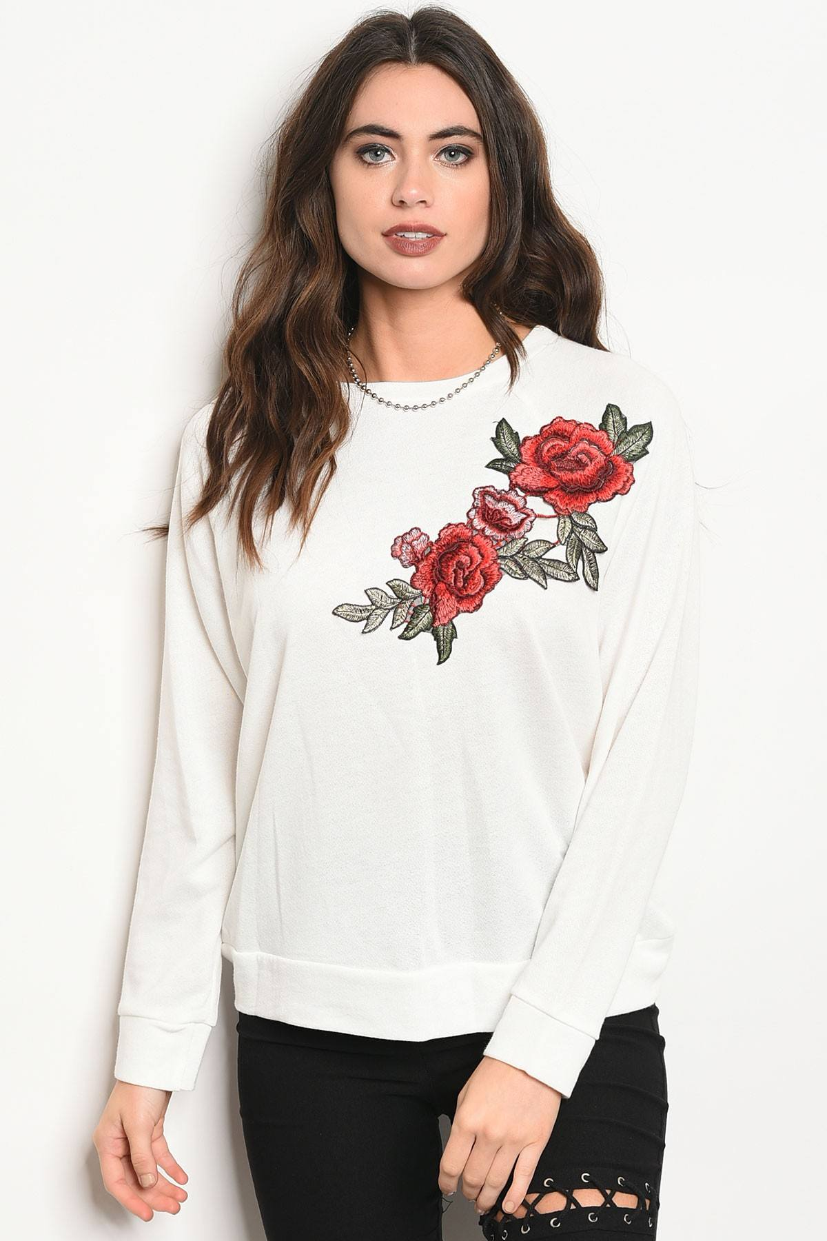 Ladies fashion long sleeve light weight knit top with a crew neckline and floral patch details-S-MY UPSCALE STORE