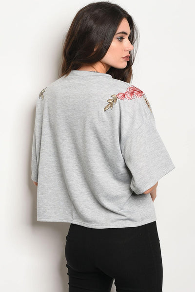 Ladies fashion 3/4 sleeve light weight knit top with a crew neckline and floral patch details-S-MY UPSCALE STORE