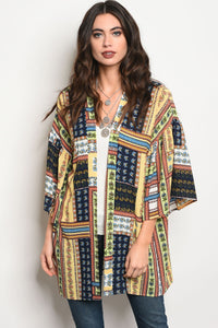 Ladies fashion 3/4 sleeve multi color and multi print light weight kimono-S/M-MY UPSCALE STORE