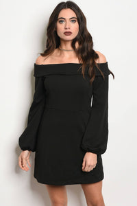 Ladies fashion long sleeve off the shoulder a-line dress-S-MY UPSCALE STORE