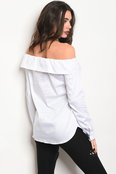 Ladies fashion long sleeve off the shoulder button up top-S-MY UPSCALE STORE