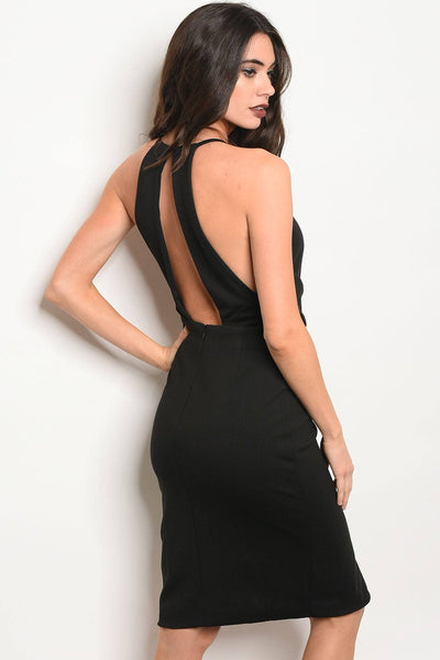 Ladies fashion sleeveless fitted bodycon dress with a crew neckline and middle slit-S-MY UPSCALE STORE