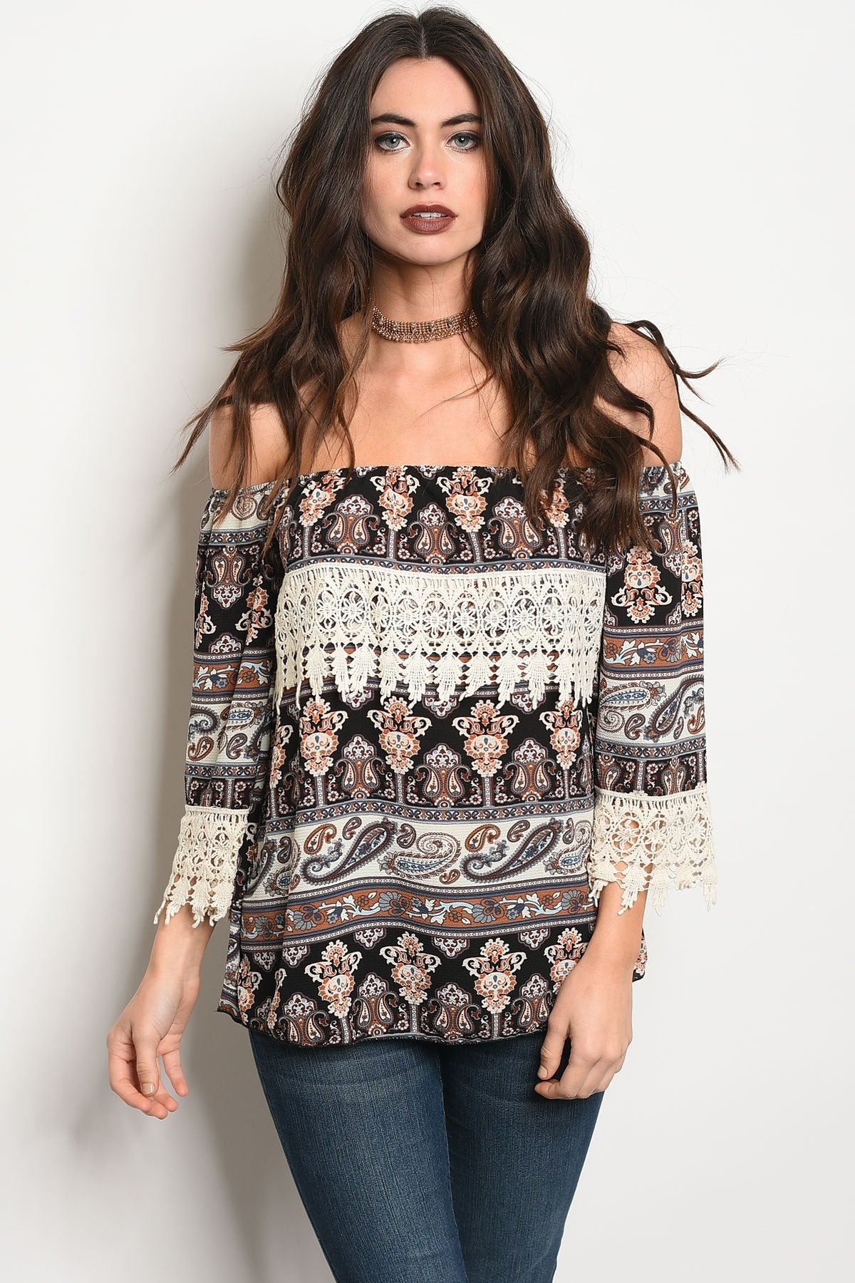 Ladies fashion long sleeve off the shoulder multi print top with lace trim details-S-MY UPSCALE STORE