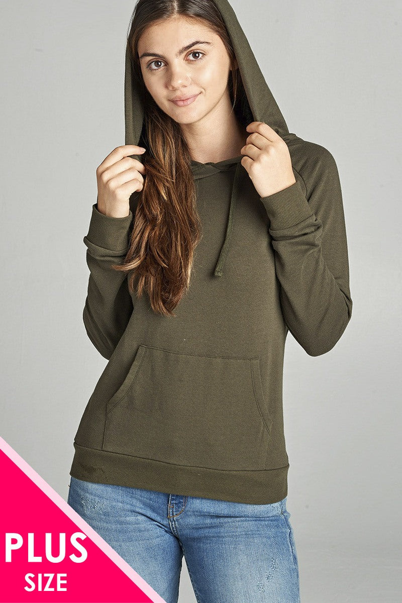Ladies fashion long sleeve pullover french terry hoodie top w/ kangaroo pocket-1XL-MY UPSCALE STORE