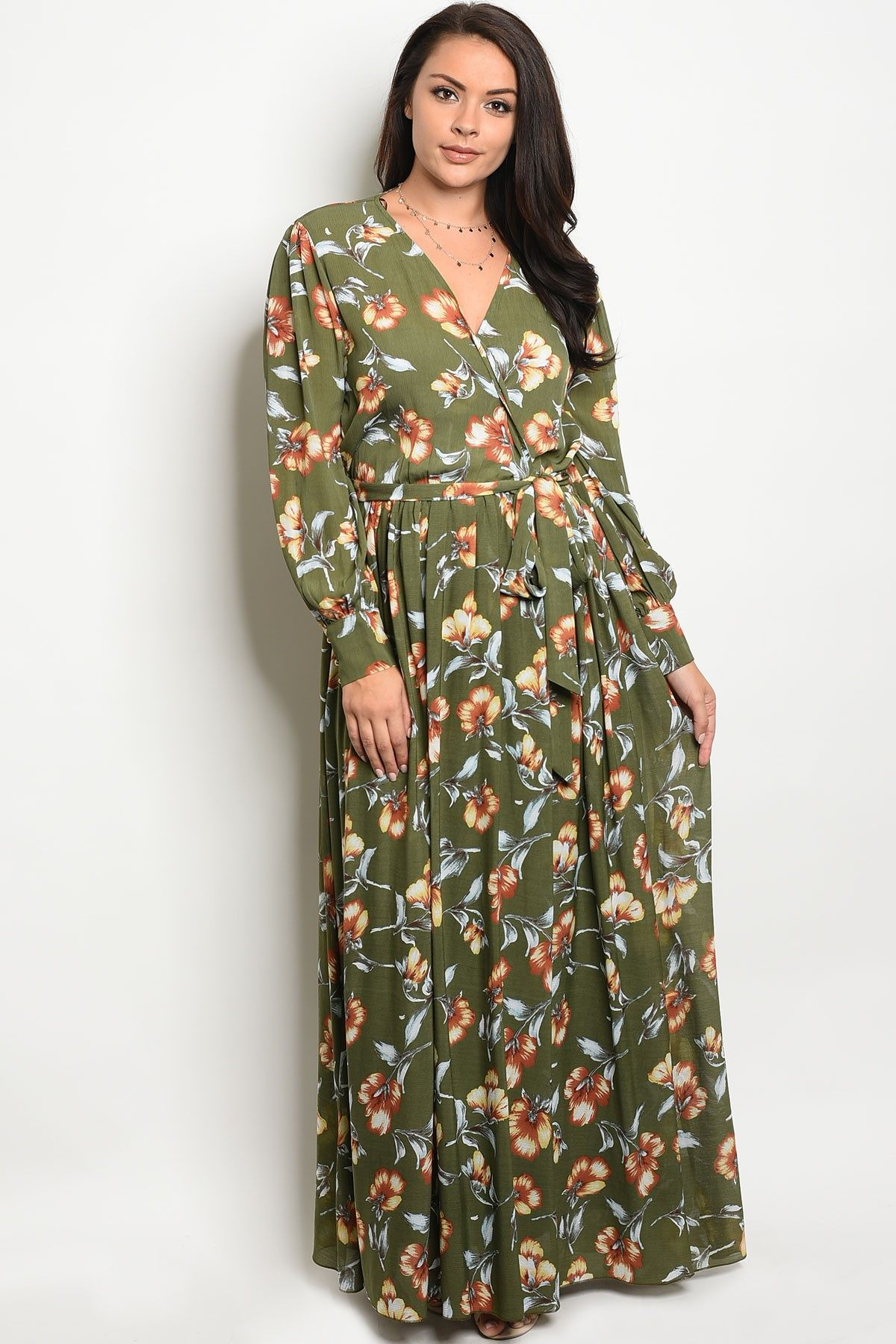 Ladies fashion plus size long sleeve printed chiffon maxi dress with a v neckline-1XL-MY UPSCALE STORE
