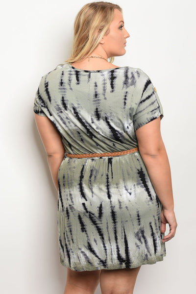 Ladies fashion plus size short sleeve tie dye printed shift dress with a rounded neckline featuring a detachable waist tie-1XL-MY UPSCALE STORE