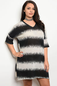 Ladies fashion plus size 3/4 sleeve v-neck tie dye tunic dress-1XL-MY UPSCALE STORE