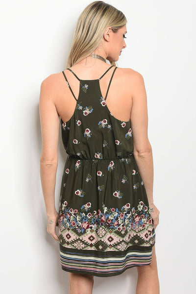 Ladies fashion sleeveless floral print skater dress that features a rounded neckline-S-MY UPSCALE STORE