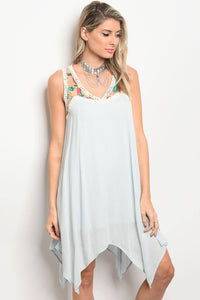 Ladies fashion plus size sleeveless skater dress that features a floral embroidered lace neckline-1XL-MY UPSCALE STORE