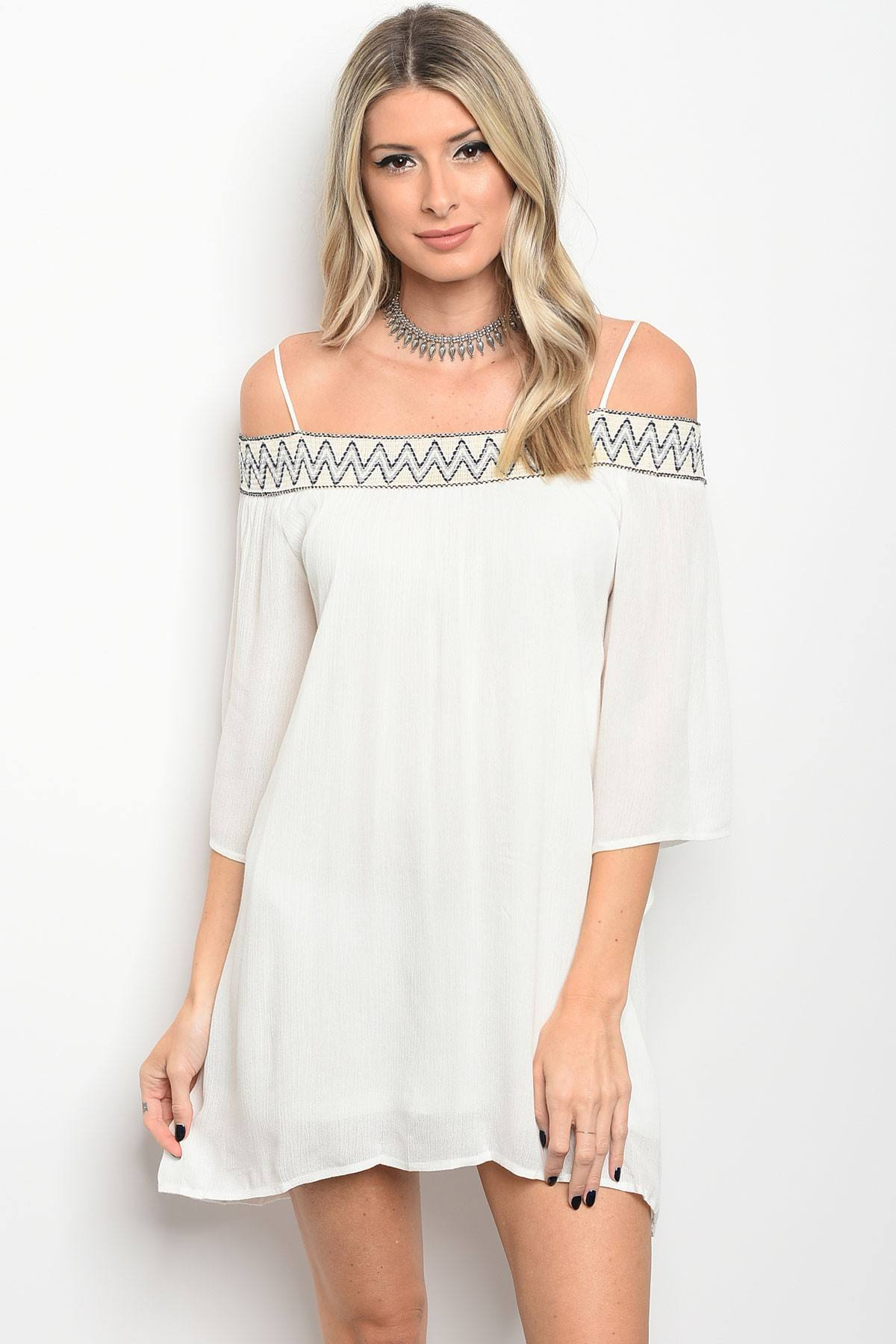 Ladies fashion 3/4 sleeve off the shoulder skater dress that features embroidered details-S-MY UPSCALE STORE