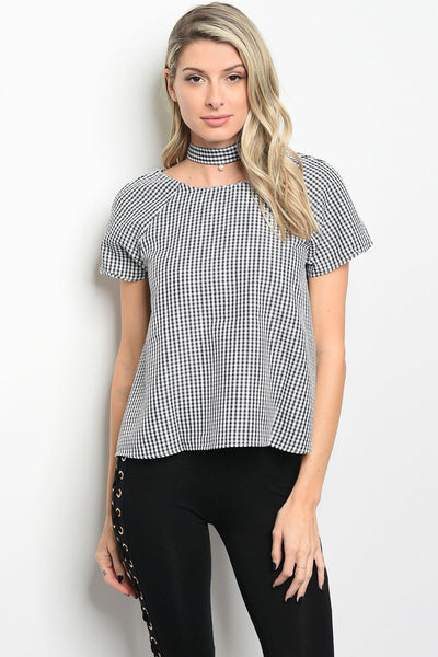 Ladies fashion chocker neckline short sleeve gingham top-S/M-MY UPSCALE STORE