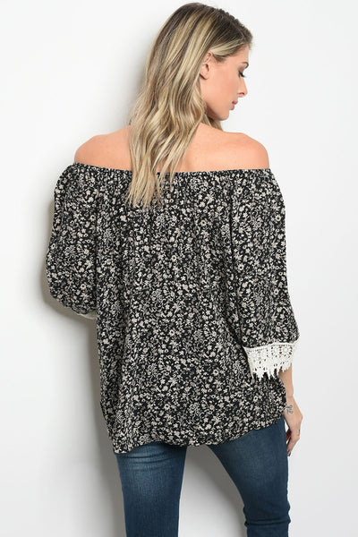 Ladies fashion off shoulder long sleeve print top, with crotchet detail-S-MY UPSCALE STORE