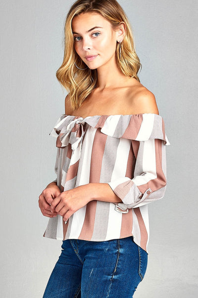 Ladies fashion off the shoulder flounce ribbon tie stripe woven top-Light Blue/Off White-S-MY UPSCALE STORE