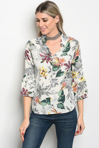 Ladies fashion 3/4 sleeve floral print blouse that features a v neckline-Ivory-S-MY UPSCALE STORE