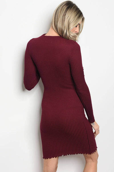 Ladies fashion long sleeve ribbed knit fitted bodycon dress with distressed details and a mock neckline-S-MY UPSCALE STORE