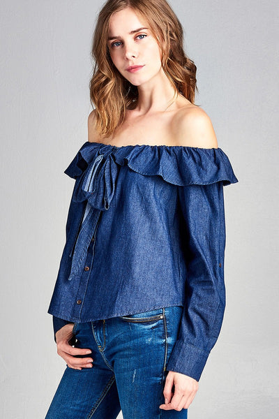 Ladies fashion elbow roll up sleeve flounce ribbon tie off the shoulder chambray top-S-MY UPSCALE STORE
