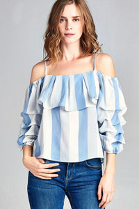 Ladies fashion open shoulder w/bubble sleeve stripe woven top-Light Blue/Off White-S-MY UPSCALE STORE