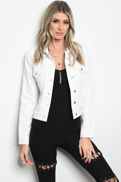 Ladies fashion long sleeve white copped denim jacket that features dragon embroidered details along the back-S-MY UPSCALE STORE