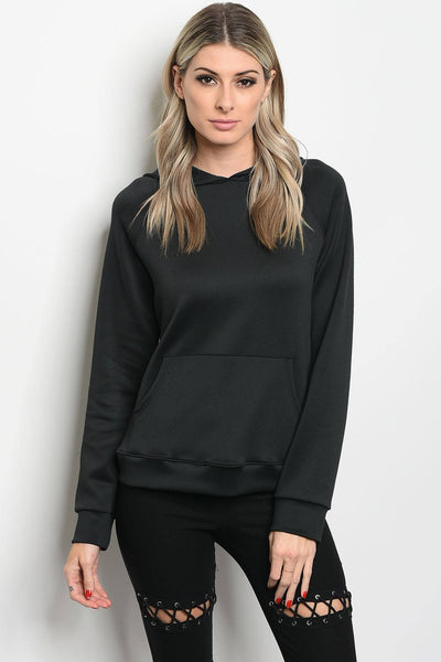 Ladies fashion long sleeve pullover hoodie that features a sheen and kangaroo pocket detail-S-MY UPSCALE STORE