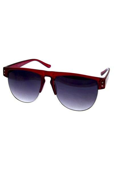 Half rimmed womens plastic sunglasses-Red-MY UPSCALE STORE