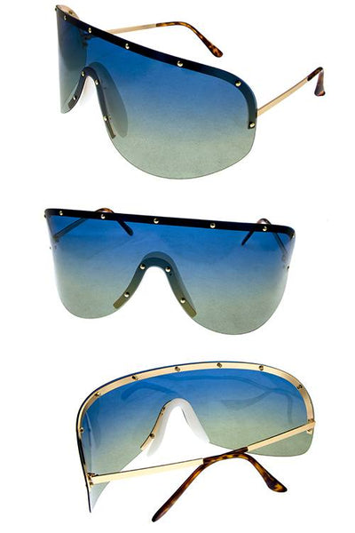 Womens rimless polarized one piece aviator sunglasses-Blue-MY UPSCALE STORE