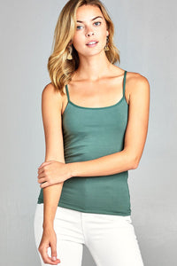 Ladies fashion basic adjustable spaghetti strap cropped cami w/ shelf bra-S-MY UPSCALE STORE