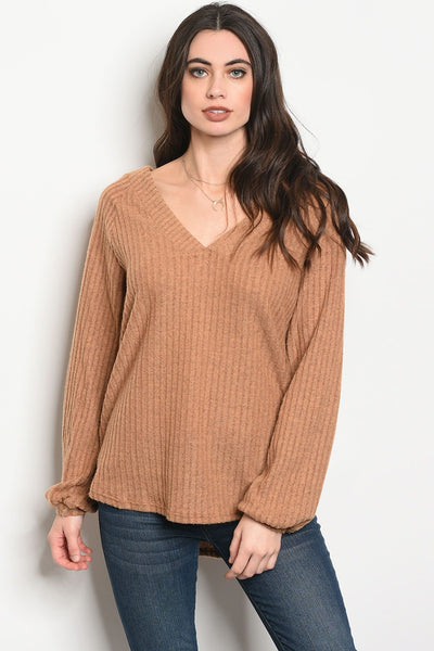 Ladies fashion long sleeve light weight knit top that features a v neckline-S-MY UPSCALE STORE
