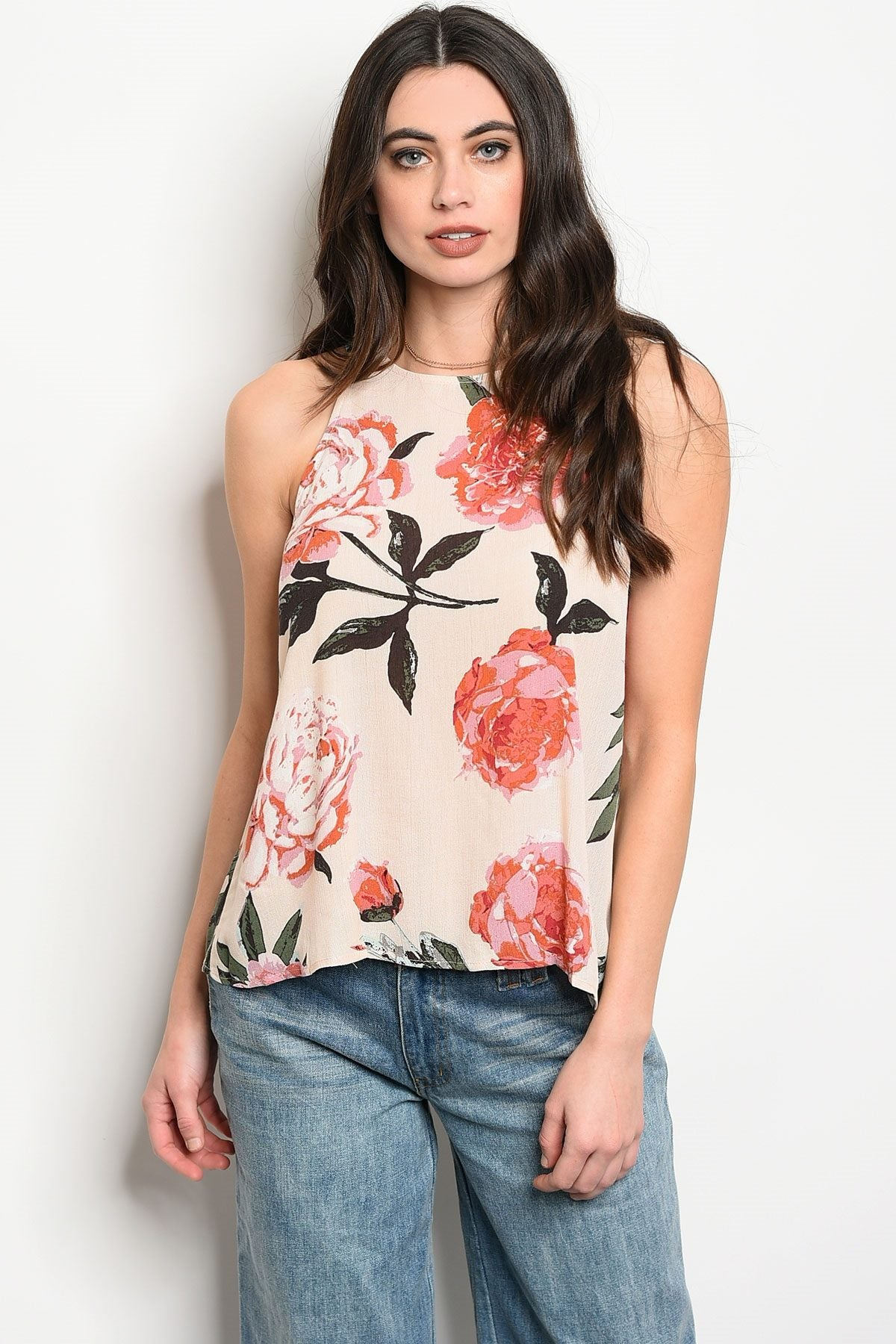 Ladies fashion sleeveless floral print top that features a rounded neckline-S-MY UPSCALE STORE