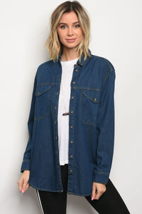 Ladies fashion long sleeve button down dark denim chambray boyfriend fit shirt-S-MY UPSCALE STORE