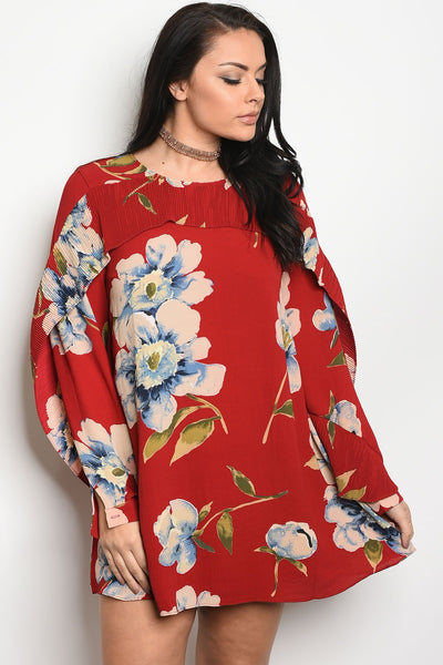 Ladies fashion plus size long sleeve floral print skater dress that features a rounded neckline-1XL-MY UPSCALE STORE