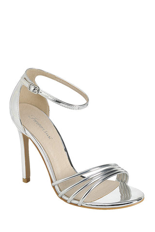 Ladies fashion high heel sandal, open round toe, single sole stiletto, buckle closure